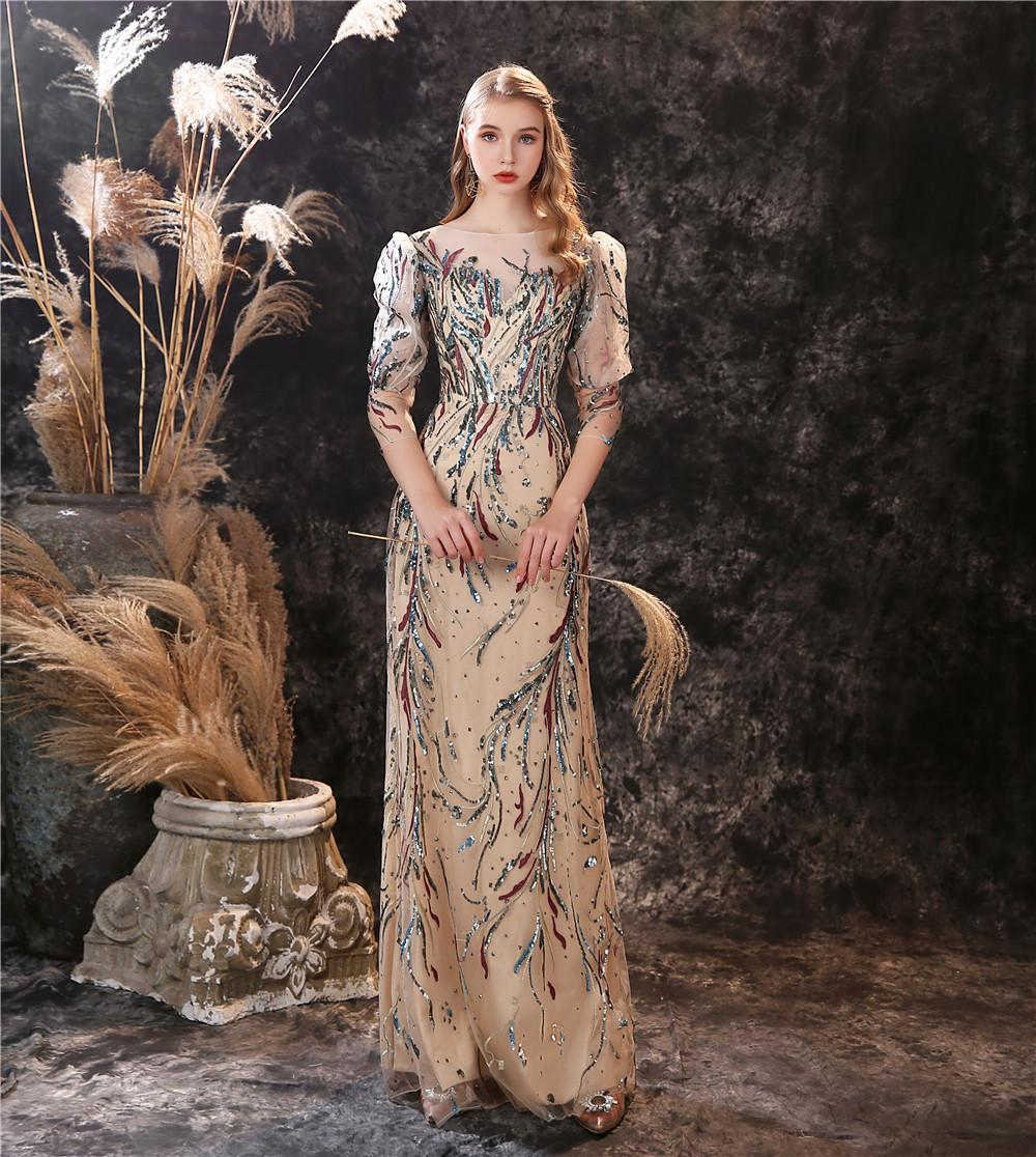 New Design Colorful Sequins Lace Evening Gowns Sexy See Through Neckline Party Dress for Special Occations