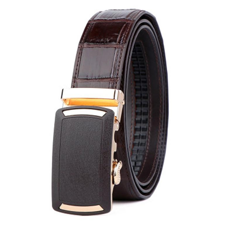 linshe New crocodile leather belt simplicity versatile leather man automatic buckle belt man Stainless steel