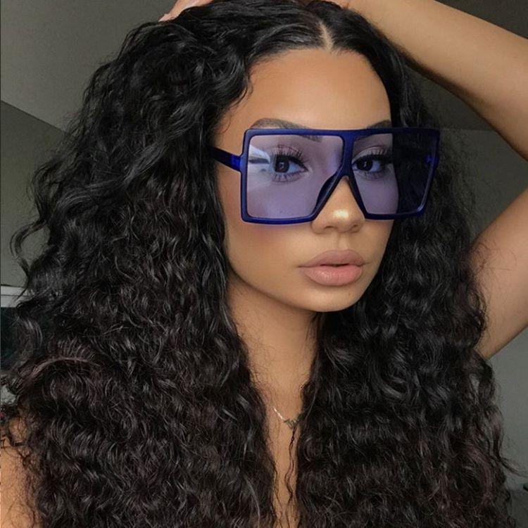 Marco kenbo manera de las mujeres de gran tamaño gran rectángulo gafas de sol gafas de sol de cristal 2020