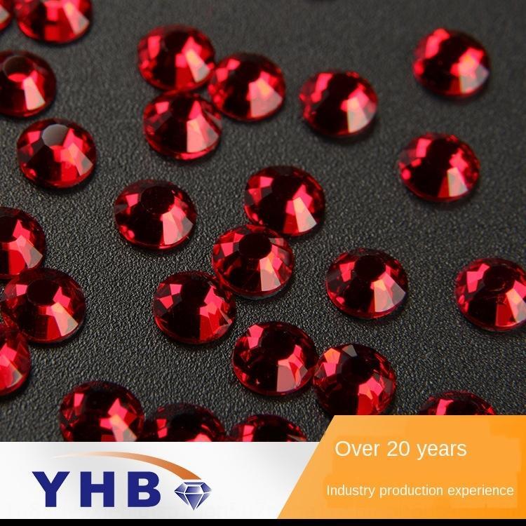 CY01q DIY sıcak sondaj yuvarlak taklit Çek Cam Diy Elmas aksesuarları kırmızı elmas taklidi giyim aksesuarları sıcak delme