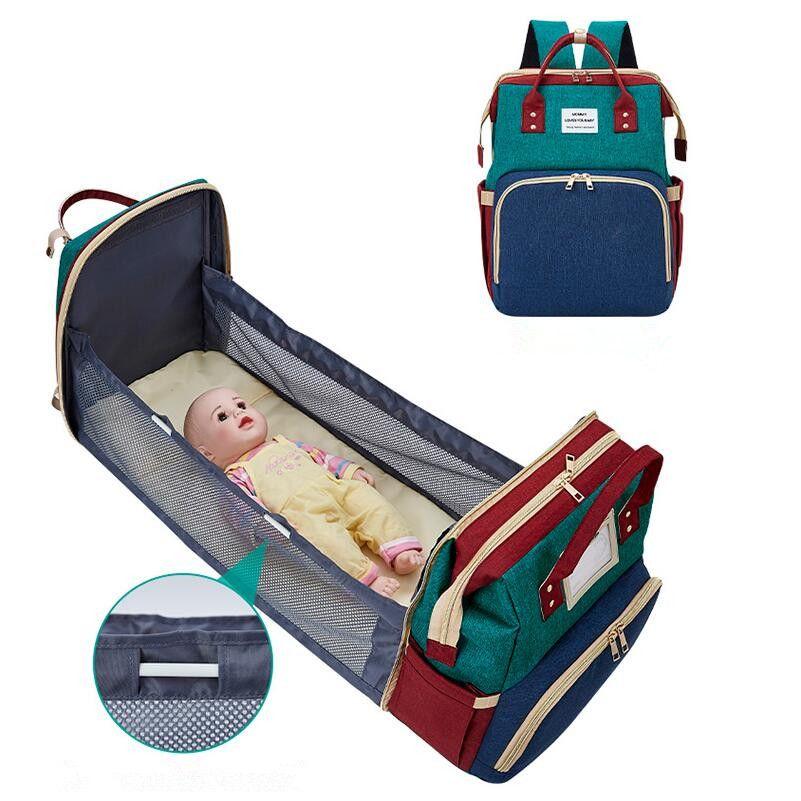 Mulheres sacos saco de fraldas Bed Mummy saco impermeável Oxford Maternidade Fralda Mochila com almofada em mudança para Baby Care Stroller Bag frete grátis