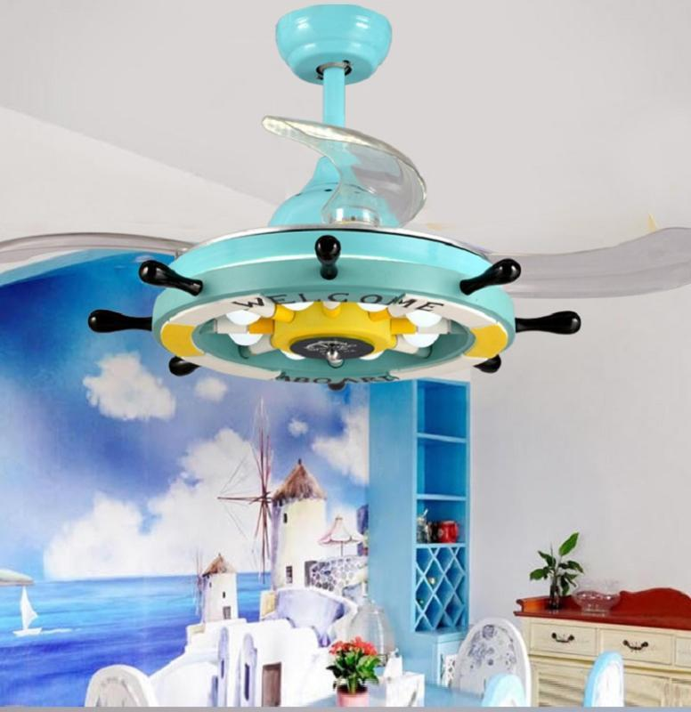 Ventilateurs électriques Ventilateur de la chambre pour enfants Lustre invisible LED