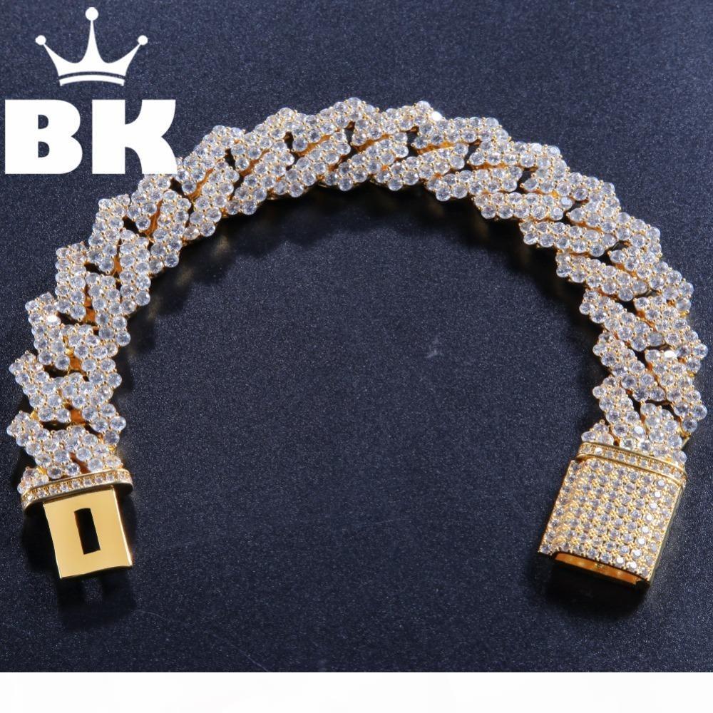 17mm cuivre Formulaire de retour Curb Cuban Bracelet Glacé Cz Bracelet en or couleur argent pour les hommes de luxe Boîte Fermoir Drop Shipping S625