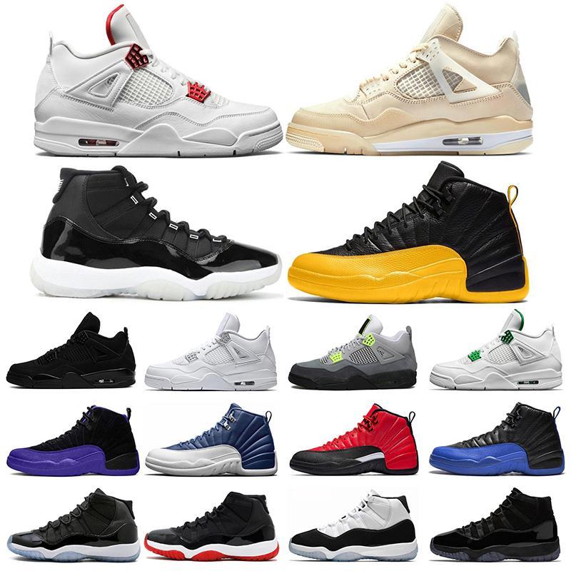 air jordan retro Moda Silt Red O Que O 4 4s Mens mulheres Sapatos De Basquete Cimento Branco Puro Dinheiro raça Sneakers Calçados Esportivos tamanho 7-13