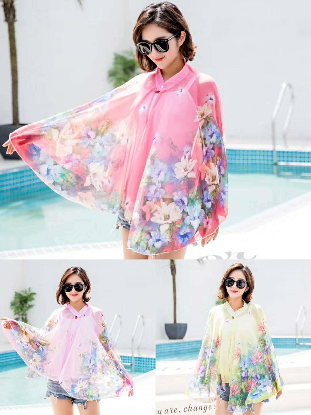 IiBEv estate ricamato lo scialle nuovo fiore abbigliamento crema solare protezione solare ricamo chiffon scialle manicotto di guida in sella seta multifunzionale