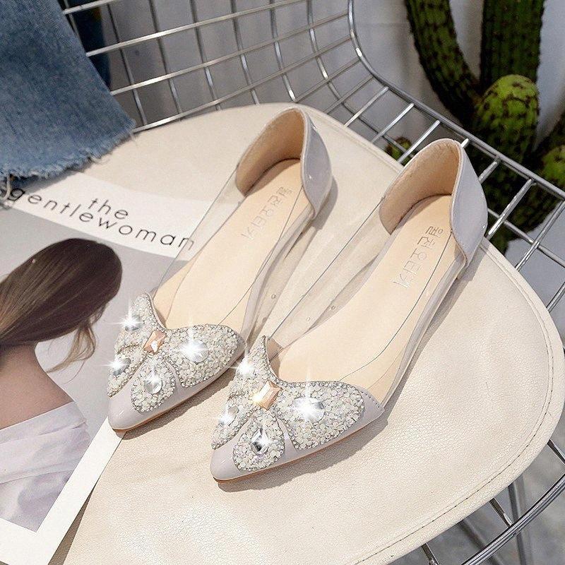 2017 nuevas de la manera escogen los zapatos Bling zapatos de boda Rhinestone Oro plano de plata para mujer del tacón plano informal XsN5 #