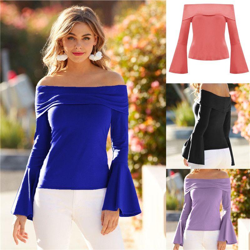 Slash Boyun Kadınlar Tişört Casual Flare Uzun Kollu Katı Renk İnce Tee Sonbahar Kadın Giyim Tops