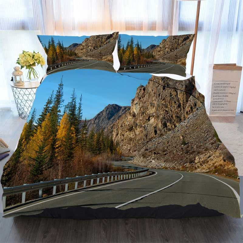 3D Designer Bedding Sets Amazing Nature Of The Most Beautiful Road In Siberia Duvet Cover Designer Bed Comforters Sets