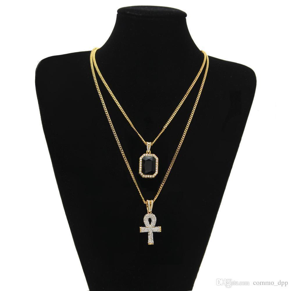 Men s Egyptian Ankh Key of Life Collier Set Bling Glafe Out Cross Mini Pendentif Gemone Pendentif Gold Silver Chaîne pour femmes Hip Hop Bijoux