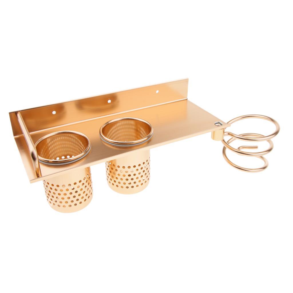 Montaggio a parete Asciugacapelli Hanging spirale Rack Organizer, durevole Holder alluminio dello spazio Asciugacapelli con 2 cups-oro