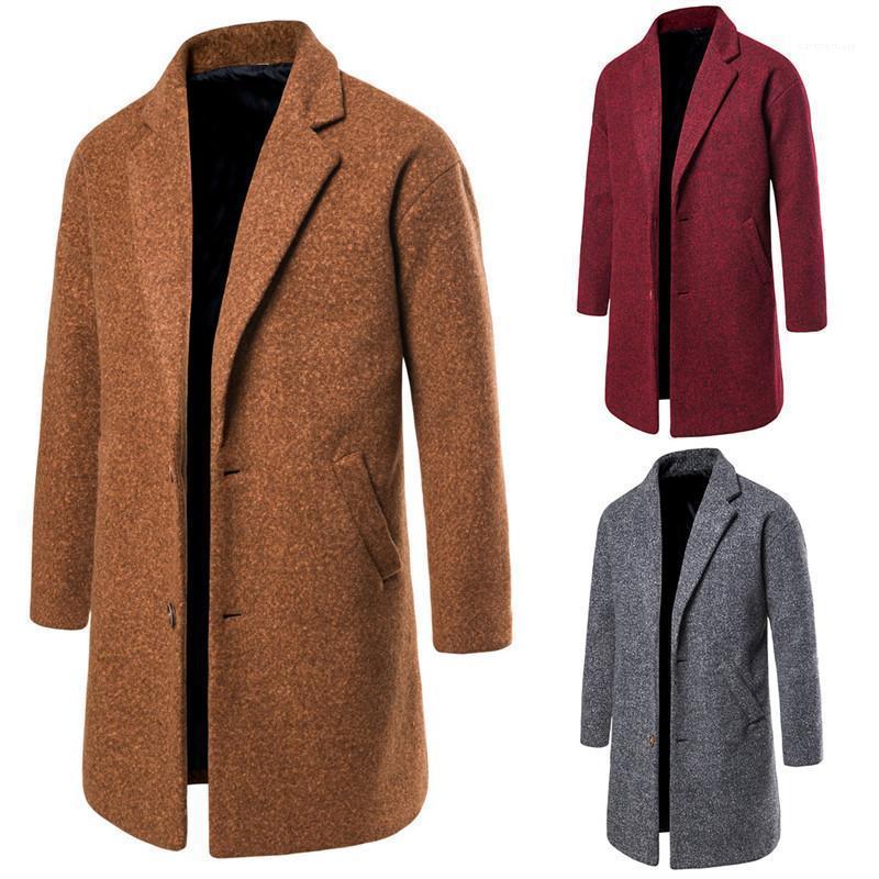Winter Einreiher Jacken Stehkragen Solid Color Mode Mäntel Designer-Kleid Neue Herren Wollmantel Herbst und