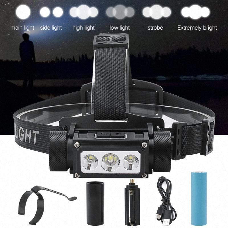 BORUiT Super Bright 3 LED L2 Headlamp Type C USB Rechargeable Lantern Waterproof Portable Camping Head Torch Light rquf#
