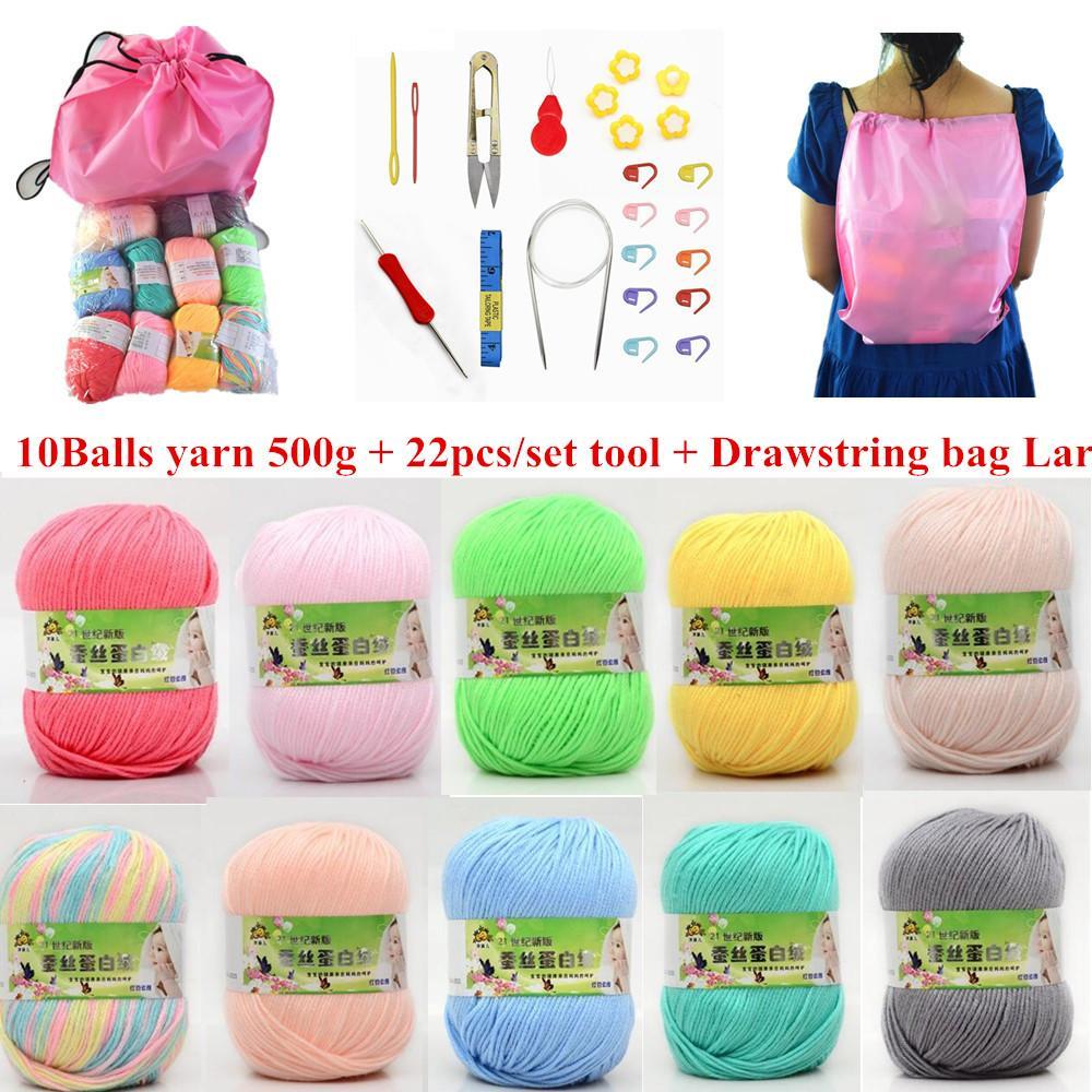 Hand Knitted Crochet Yarn DIY Soft Milk Cotton Yarn Baby Wool Yarn for Knitting (10balls/bag drawstring bag knit tool set)