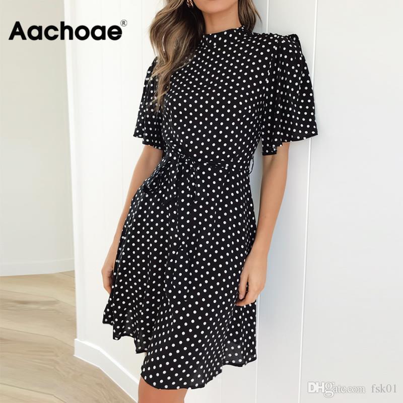 Aachoae 2020 Polka Dot vestido de verano de las mujeres de playa de Boho mini vestido Oficina casual de las señoras de manga corta vestido elegante Vestido Mujer