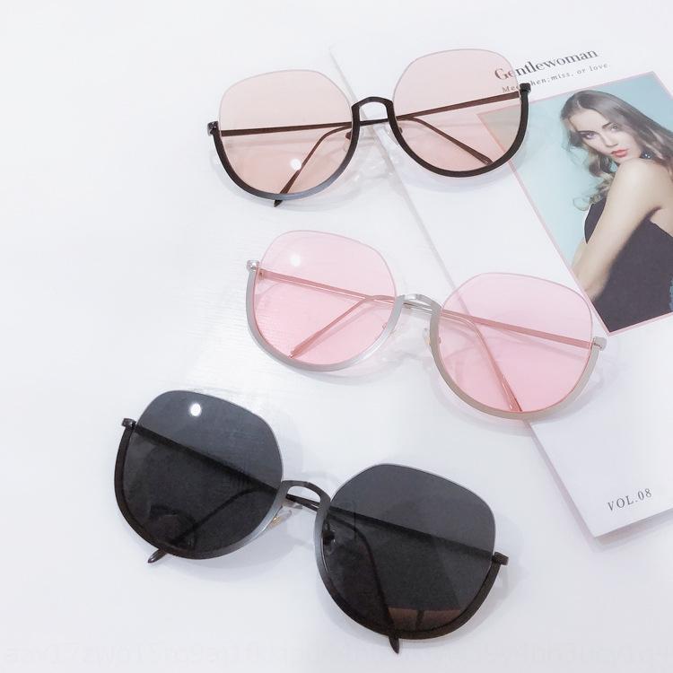 F8gRa demi-cadre rond brun lunettes de soleil style coréen hommes 2019 la mode des lunettes de soleil sur internet des femmes rouge shot rue ulzzang