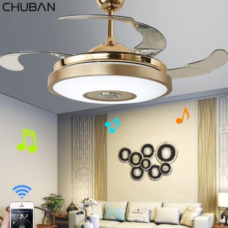 LED Современные Bluetooth Music Fan Light бесшумный Интеллектуальный пульт дистанционного управления Потолочный вентилятор Свет Ресторан Гостиная