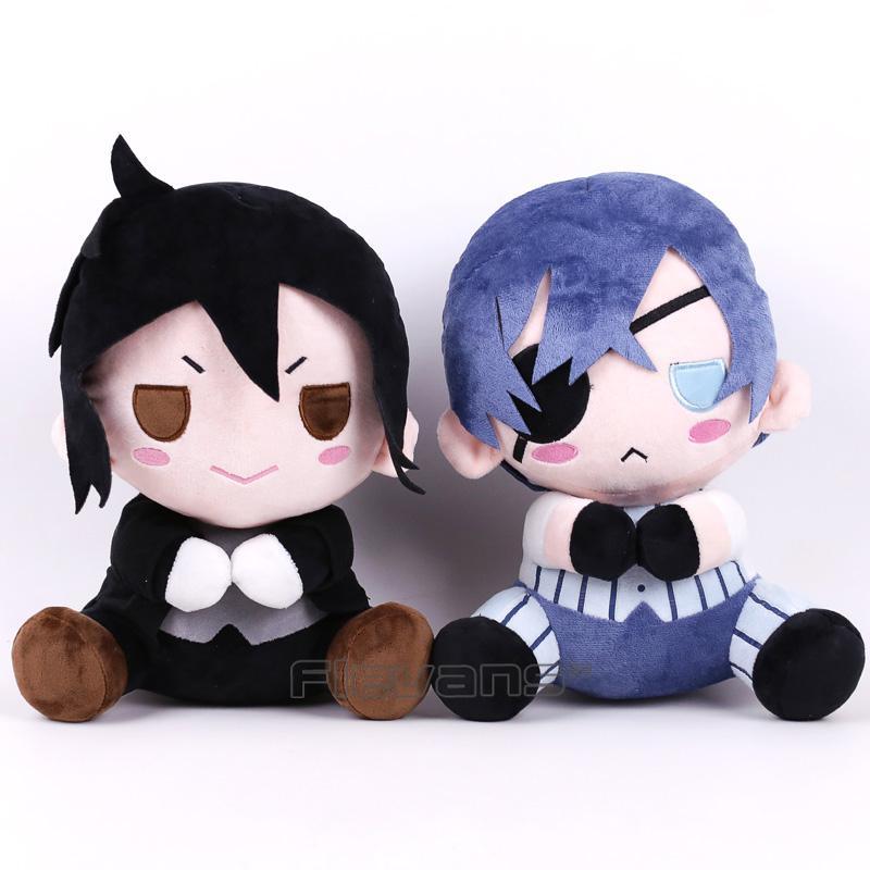 Negro de Butler Kuroshitsuji Ciel Sebastián Michaelis juguete de felpa suave del animal relleno de la muñeca de 12 pulgadas 30cmMX190925