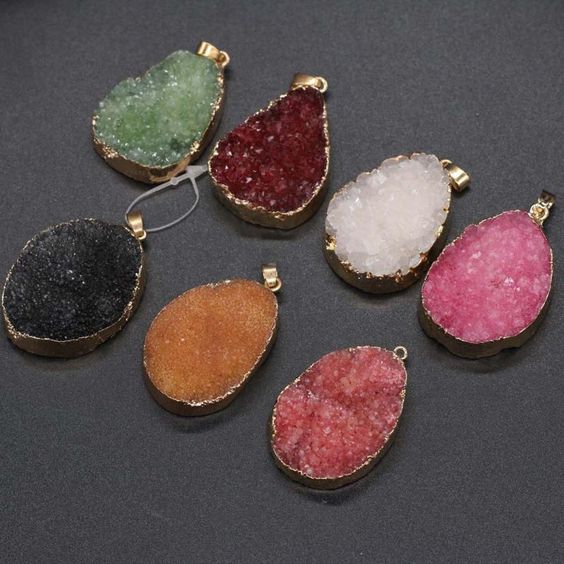 Charms Natural Stone Irregular Crystal Agates Charm Pendant For Jewelry Making DIY Necklace Bracelet Earrings Accessories 30x40-35x45mm