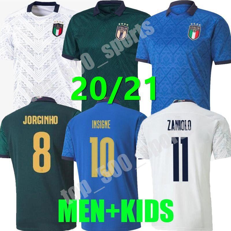 2021 남자 아이들 이탈리아 축구 유니폼 멀리 홈 타고 3RD Barella Sensi Insigne 20 21 르네상스 Chiellini Belotti 축구 셔츠