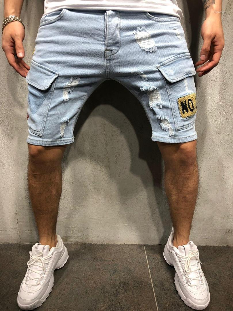 Mavi Rozet Delikler Fermuar Jean Diz Boyu Pantolon Erkek Moda Jeans Pantolon Yaz Erkek Kısa Kot Tasarımcı Yıkanmış