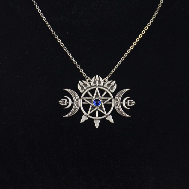 Triplo Lua Crescente Com Pentagram Colar Selo Sigilo do Espírito Pagan Jóias Colar gótico Wiccan