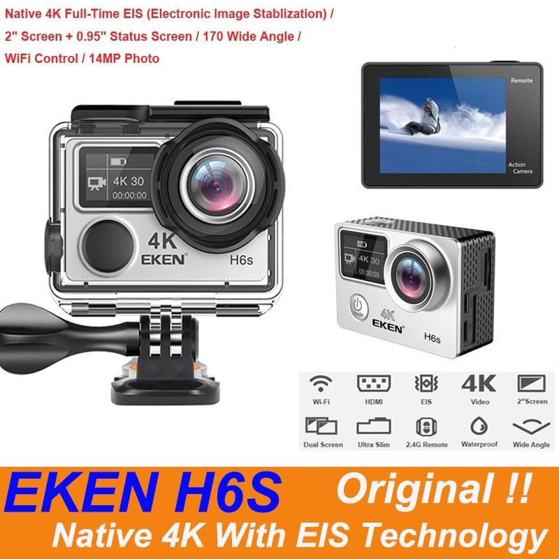EKEN H6S Ultra HD Action Camera with 4k/30fps 1080p/60fps EIS 30M waterproof H6S sport Camera Native 4K with EIS Technology With Retail Box
