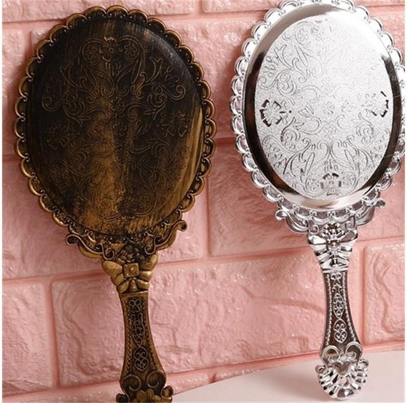 Retro Handle Espelho redondo de alta qualidade Cosmetic Espelhos portátil Princesa espelho Compact Carving Pattern Lady Moda 2 2JF G2