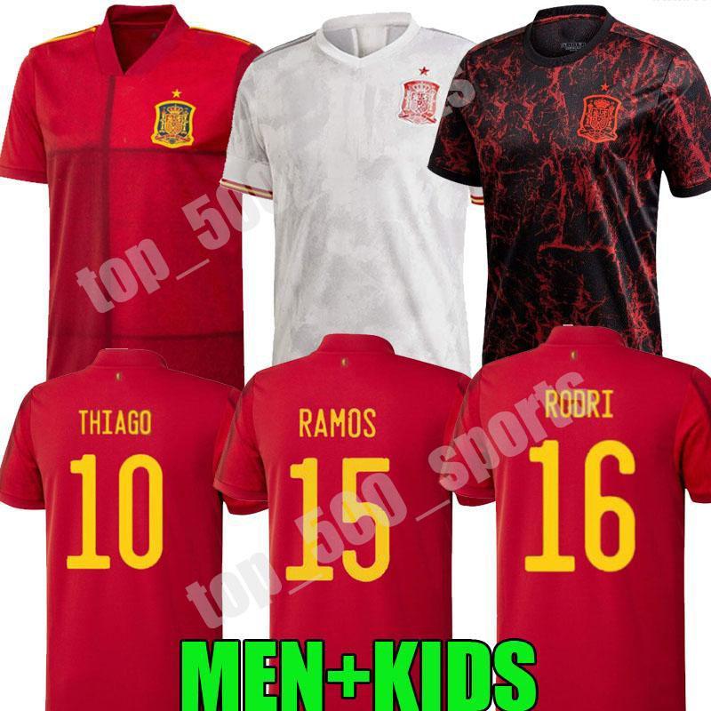 الرجال + الاطفال كيت 2021 المنتخب الوطني لكرة القدم جيرسي Camiseta España Paco Morata A.Iniesta Pique 21 22 كأس أوروبا Alcacer Sergio Alba Football Shirts