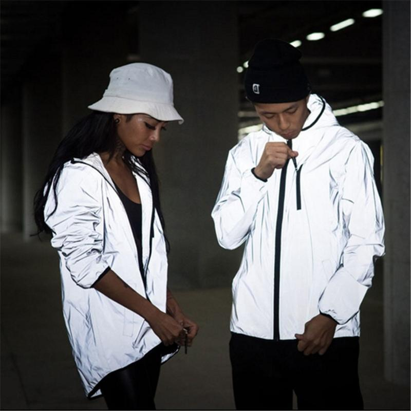 Hip Hop Yansıtıcı Ceket Erkekler kadınlar Harajuku WINDBREAKER Ceketler Kapşonlu Streetwear Coat WINDBREAKER Ceketler Coats