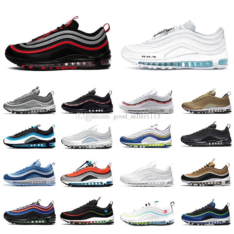 حذاء الجري  97 للرجال في يوم max 97   USA USA Ghost Worldwide أبيض أسود عيد الفصح MSCHF x INRI Jesus 97s UNDEFEATED الرجال النساء أحذية رياضية مصممة