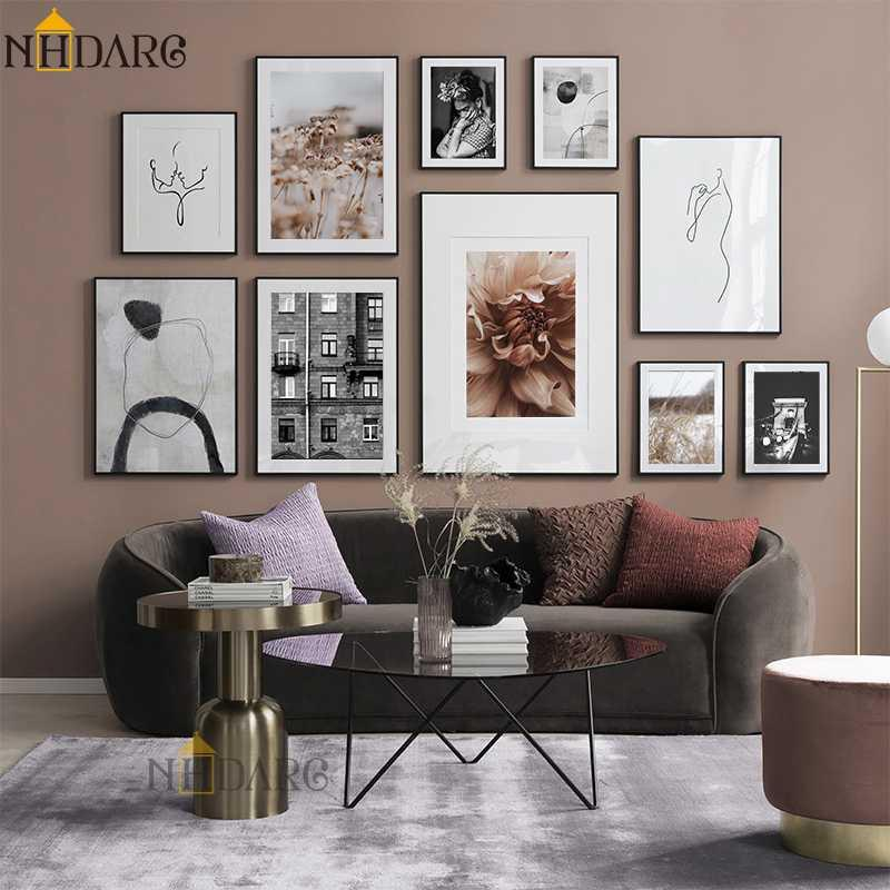 Flower Plant Black White Line Character Abstract Combination Canvas Print Wall Art Painting Picture Living Room Home Decoration