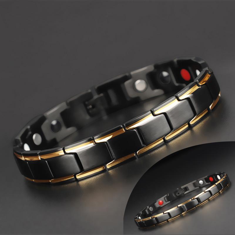 Магнитный гематитовый браслет из нержавеющей стали для женщин мужская терапия Байкер Браслеты Mangold Черное здравоохранение Ювелирные изделия