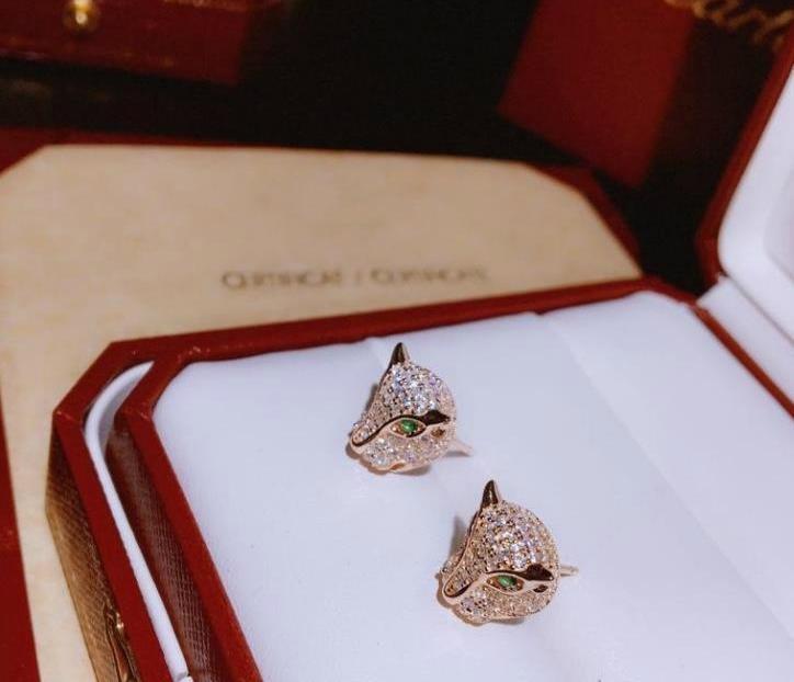 Bijoux Boucle d'oreille Femme PANTH`ERE Série 925 en argent sterling animal léopard tête dormeuses 2 couleurs Wedding66