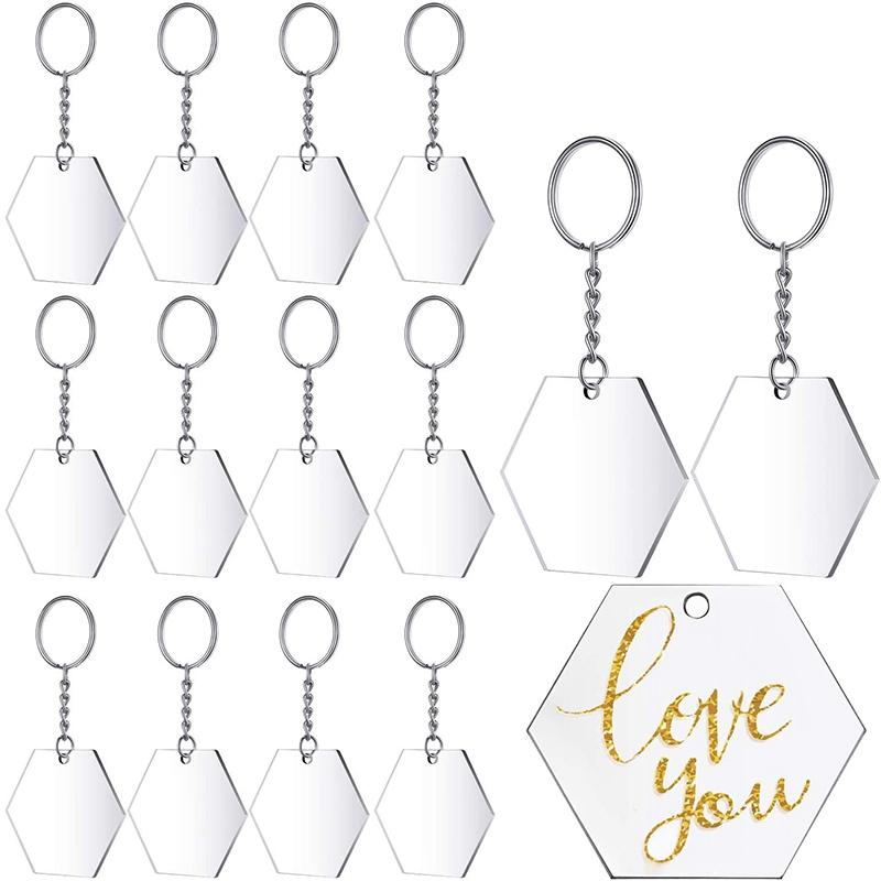 Transparent Acrylic Disc and Key Chain Transparent Acrylic Key Chain Blank for DIY Items and Crafts, (Hexagon,48 Pieces)