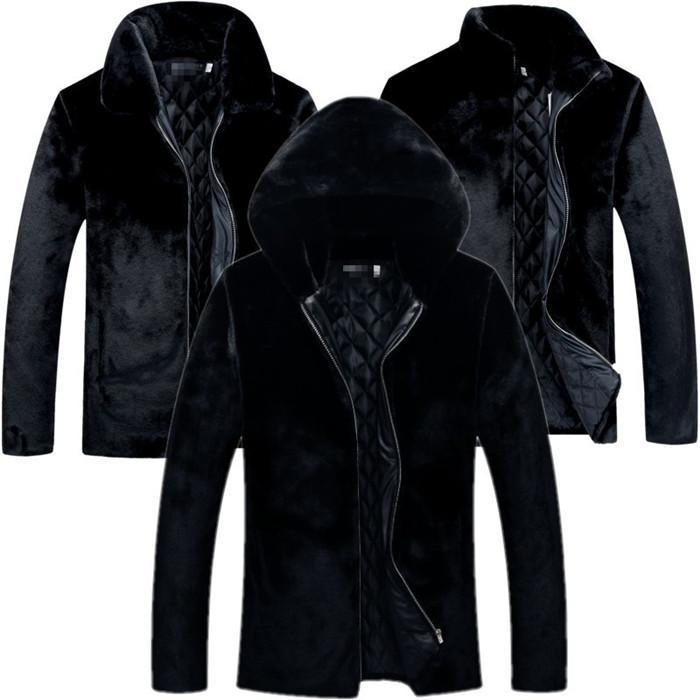 أسود للرجال المنك معطف فضفاض بالاضافة الى حجم كم طويل مقنع عارضة فو معاطف الفرو في فصل الشتاء الرجال ملابس خارجية الملابس