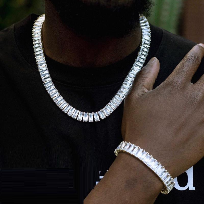 Chokers 4x8mm Square CZ Теннисная цепь Ожерелье Ювелирные Изделия для мужчин Хип-хоп с длинным кулонским кораблем Оптом оптом