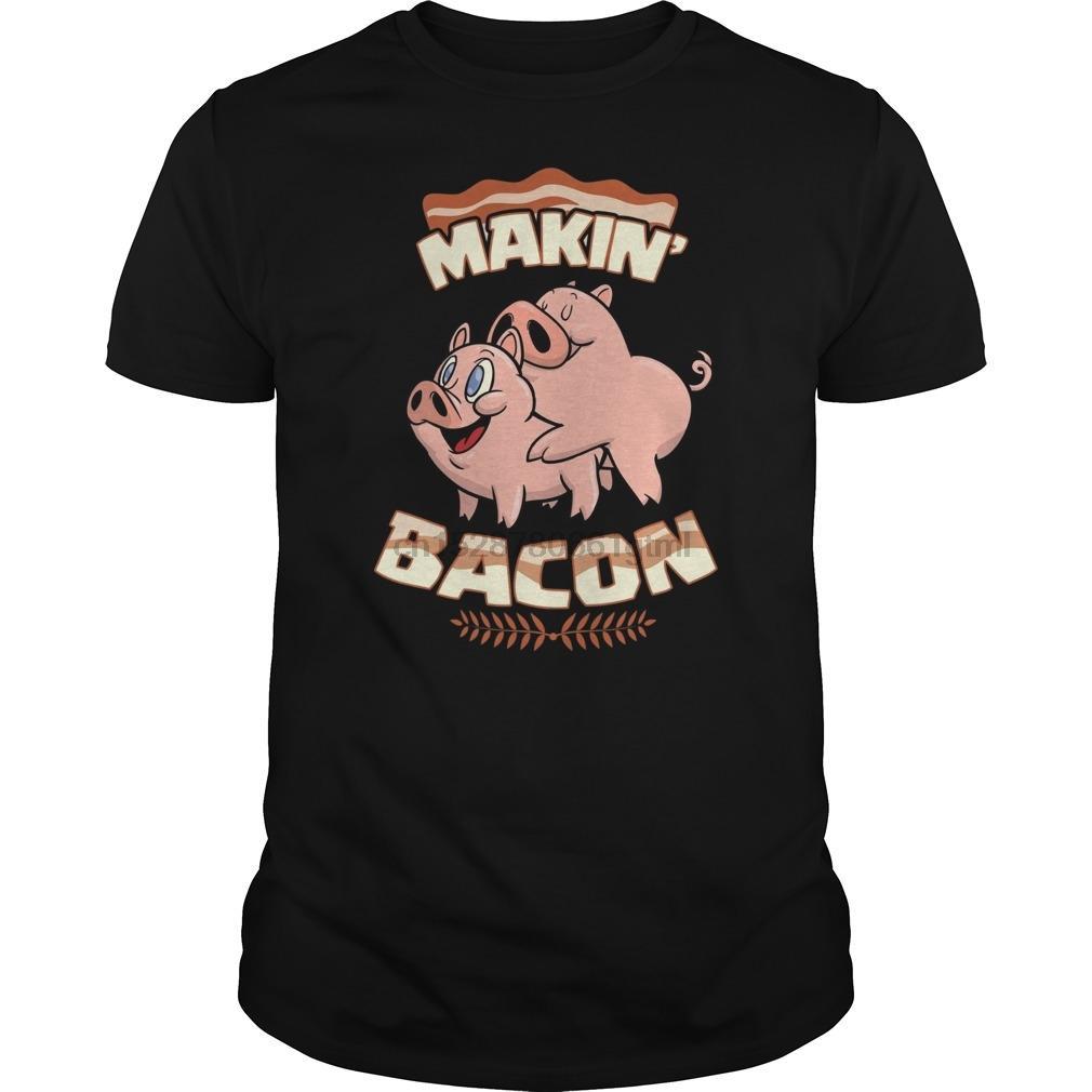 Hombres camiseta de manga corta de Makin el tocino camiseta divertida del cerdo de Meatatarian Inteligente tonto caliente Mujeres camiseta