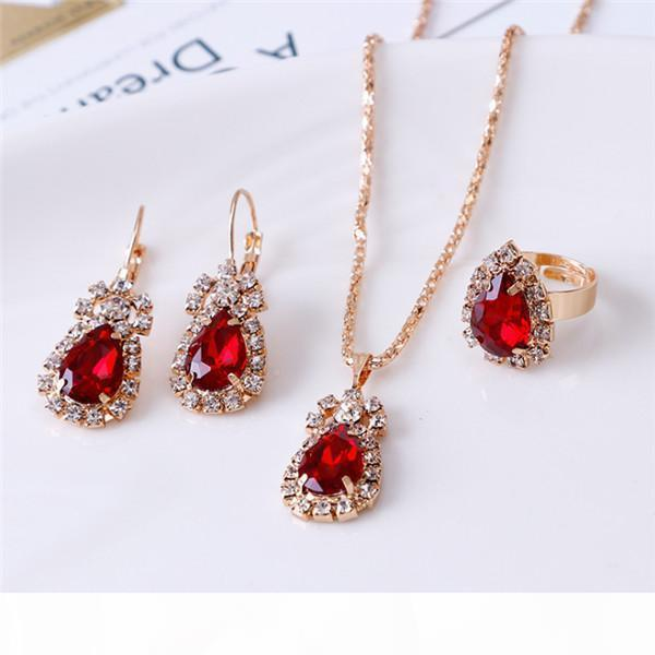 Bridesmaid Jewelry Set for Wedding Gold Like 925 sterling silver chains Necklace pendant Earring For Women Gemstone Rings Party Jewelry h252