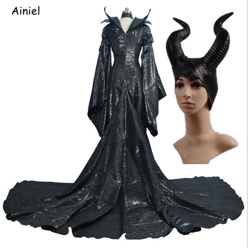 High Quality Dark Witch Maleficent Cosplay Maleficent Witch Costume Black Dress Horn Headgear Halloween Party Girls Adult Women