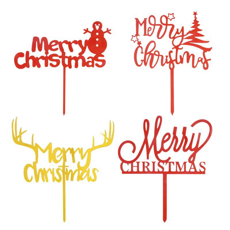 1PCS الاكريليك عيد الميلاد كعكة الذهب ميلاد سعيد كعكة عيد الميلاد. توبر عيد الميلاد ديكور للحزب ديكور المنزل ناتال نيفيداد