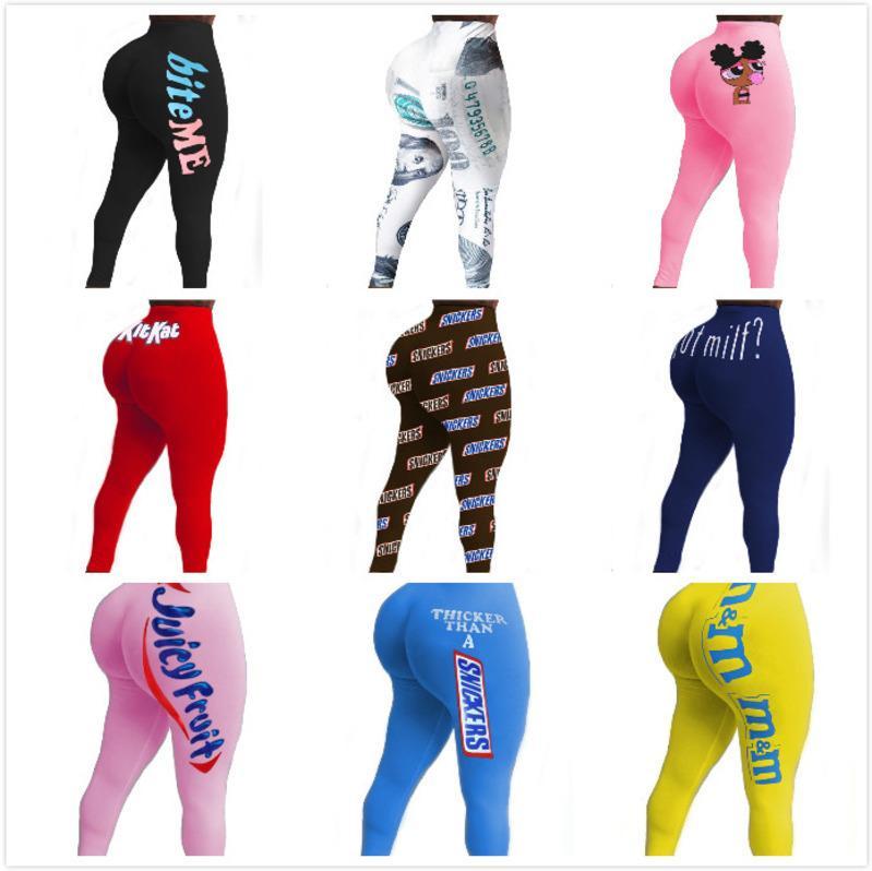 Tasarımcı Seksi Kadınlar Yoga Pantolon Moda İnce Harfler Desen Baskılı Tayt Bayanlar Yeni Moda Casual Sıkı Pantolon Yeni 2020
