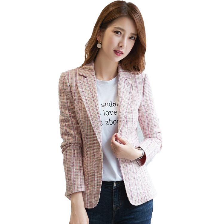 Female Elegant Formal Casual Women Blue Pink Apricot Plaid Blazer Long Sleeve Slim Blazer New Dress Outwear Jackets and Coats