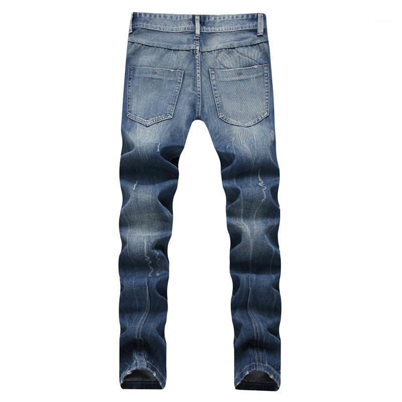Gewaschene Reißverschluss Herren Jeans Male Apparel Light Blue gerade lange Männer Jeans mittlere Taille Regular