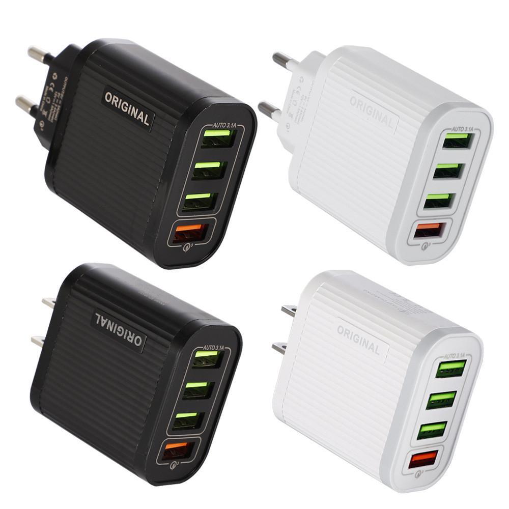 4 USB 빠른 QC 3.0 전화 충전기 5V 3A 멀티 포트 휴대용 충전기 플러그 모바일 충전기 4USB 아이폰 (11) 프로 맥스 삼성