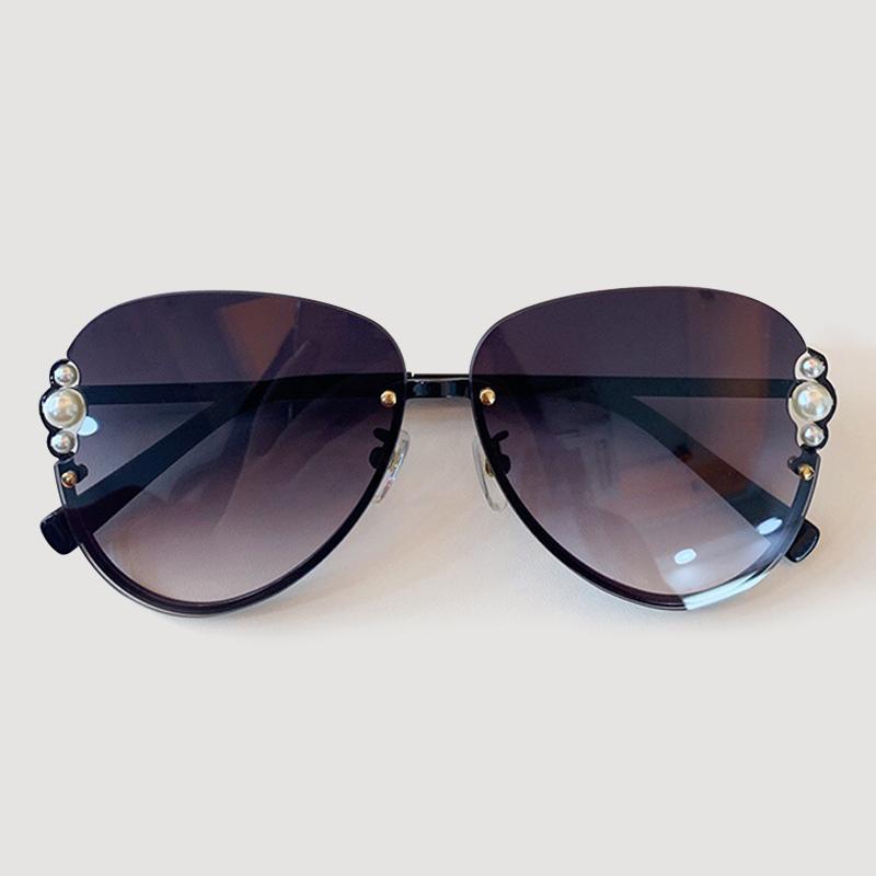 Gafas de sol retro piloto hombres de las mujeres marca de diseño clásico de perlas Gafas de sol Mujer UV400