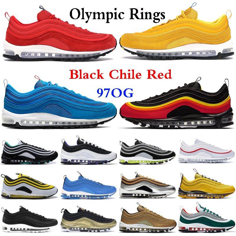 2021 97 رينغ ثلاثية أسود أبيض فضي شيلي الأحمر الصهارة البرتقال الرجال الاحذية أحذية الأولمبية خواتم جنوب الشاطئ الأصفر المرأة الرياضية رياضية 5.5-11
