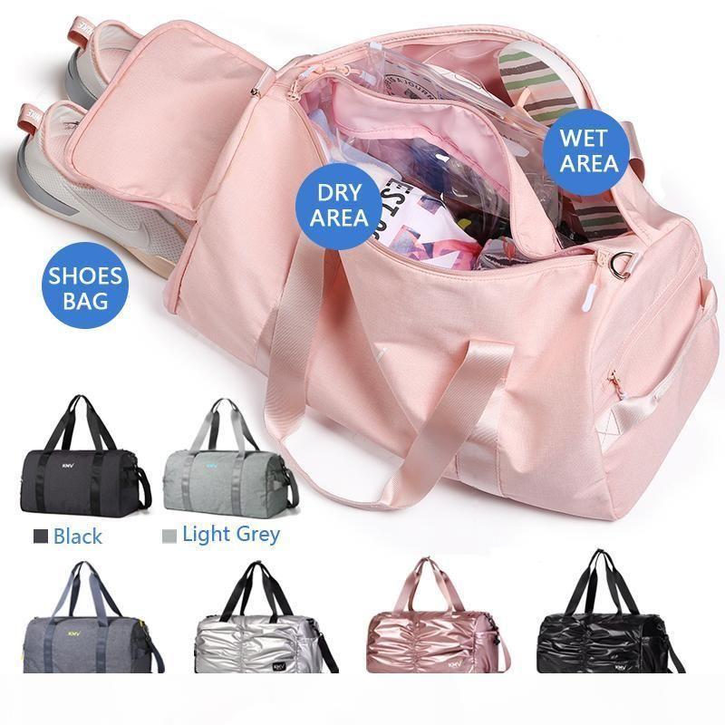 KMV Wasserdicht Seesack für trockene und nasse Trennung Yoga-Tasche mit Schuhen Abteil, Sporttasche und Sport für Mädchen und Männer