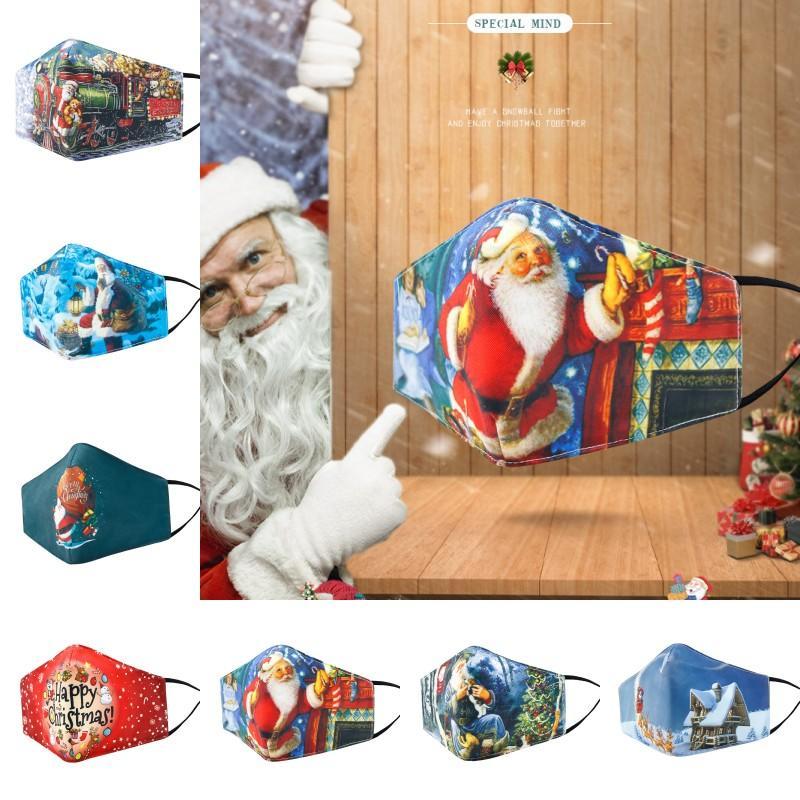 DHL del fronte di trasporto di Natale Maschera riutilizzabile antipolvere caldo traspirante Maschera Maschera Moda Babbo Natale in cotone per le donne del partito di favore Uomini L667FA