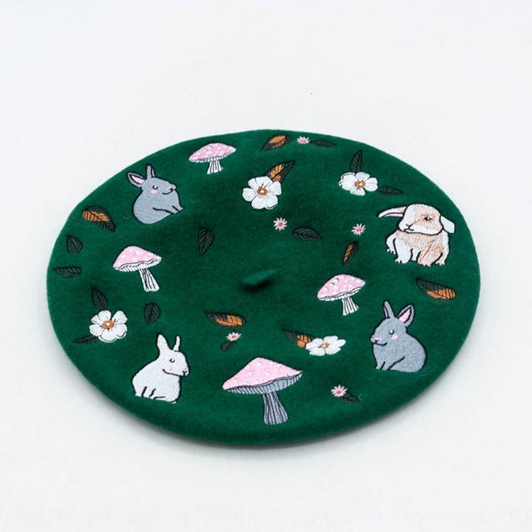 cogumelo Outono estilo e floresta do inverno coelho lã chapéu bordado do pintor QN0ff britânica boina Mori menina lã bordados boina pintor c