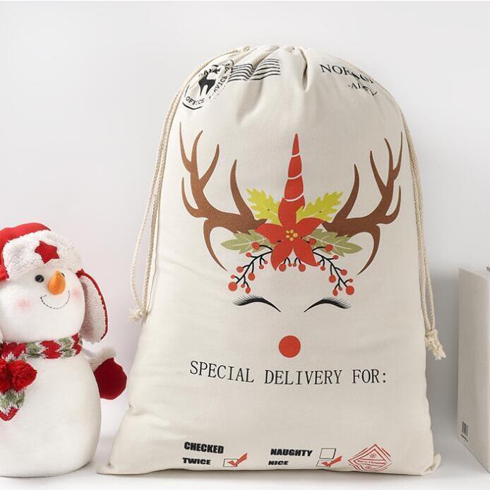 Sacs Noël Santa Coton Toile Santa Sac Monogrammable Sac à cordon Sac de cordon de Noël Décorations de Noël Cadeau Claus Sac BWD249 WUQRR